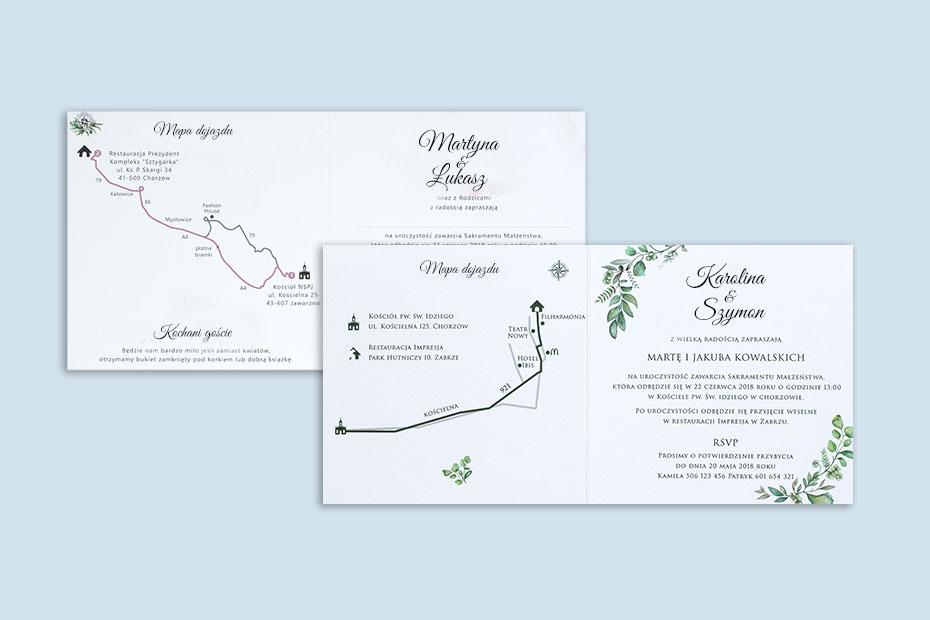 mapa na zaproszeniu ślubnym